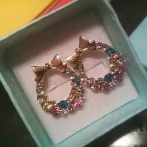 Multicolored Crystal Statement Earrings Wgift Box